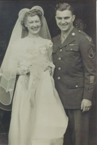 Mom and Dad wedding 1945