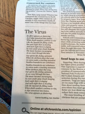 The Virus poem in SF Chronicle May 1 2020